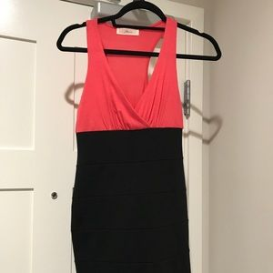 Pink and black body con dress